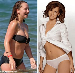 On the beach as compared to her Hanes Ad