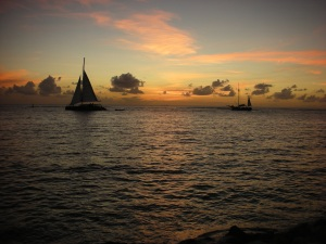 Gorgeous Sunset in Aruba with sailboat December 2008