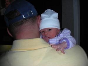 Talia being held by Jason Silverman
